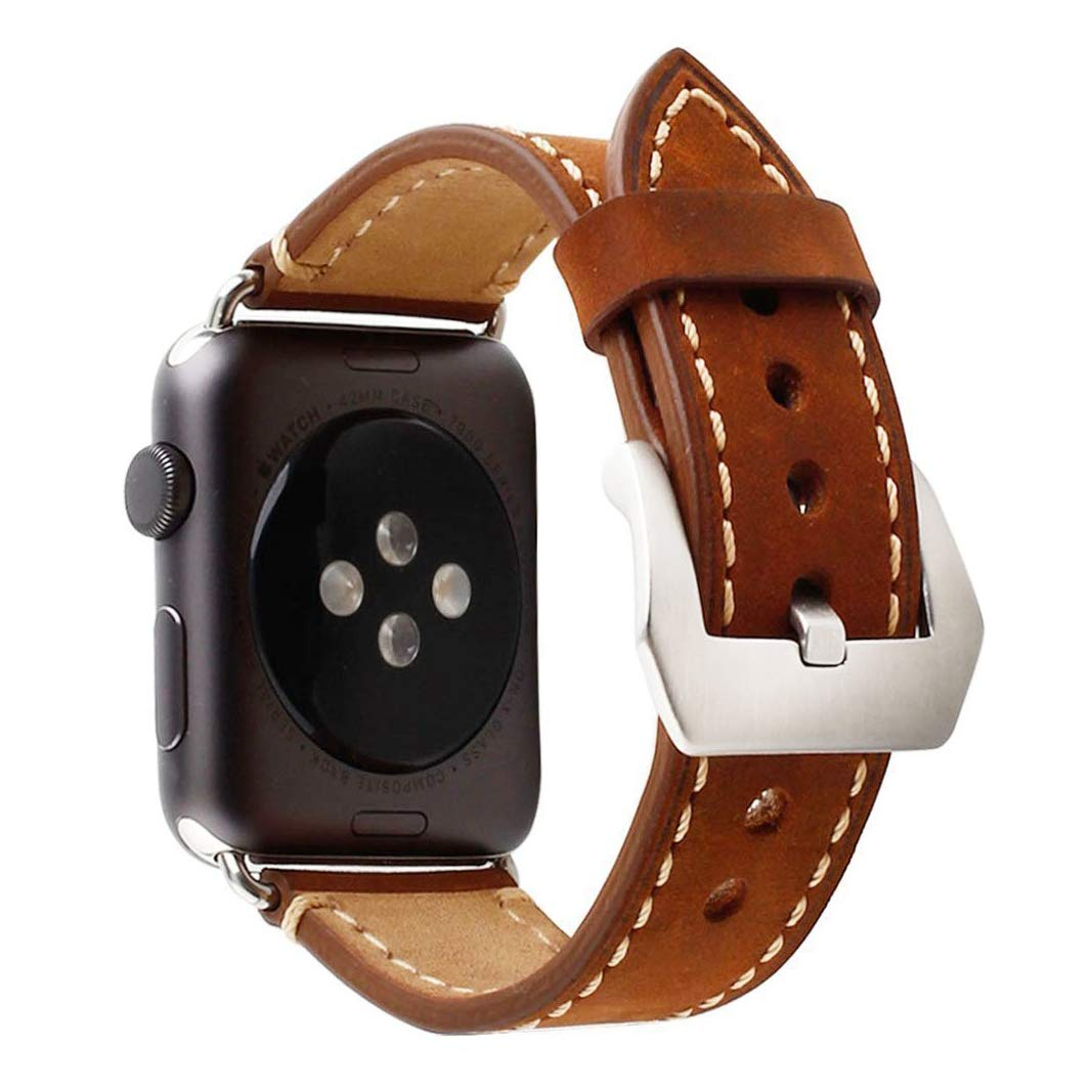 Retro Crazy Horse Genuine Leather Wrist Strap for Apple Watch Band iWatch 1 2 3 Stainless Steel Adapters Replacement Watchband (Dark Brown) (Dark Brown 42mm)