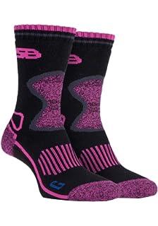 Storm Bloc - 2 pares mujer trabajo senderismo termico invierno calcetines reforzados lana de merino