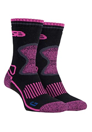 Storm Bloc - 2 pares mujer trabajo senderismo termico invierno calcetines reforzados lana de merino (