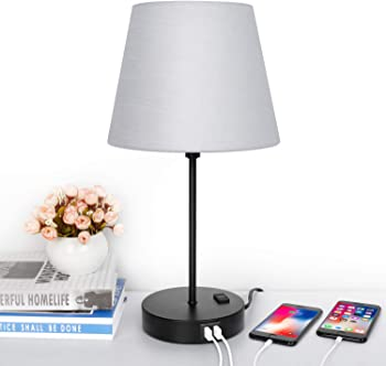 MAXvolador Touch Table Lamp with Dual USB Charging Ports & AC Outlet