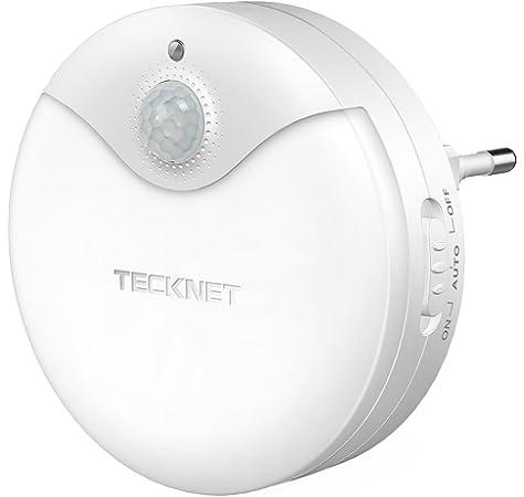 Luz nocturna LED TeckNet Luz LED para escalones con sensor de movimiento y Sensor de luz