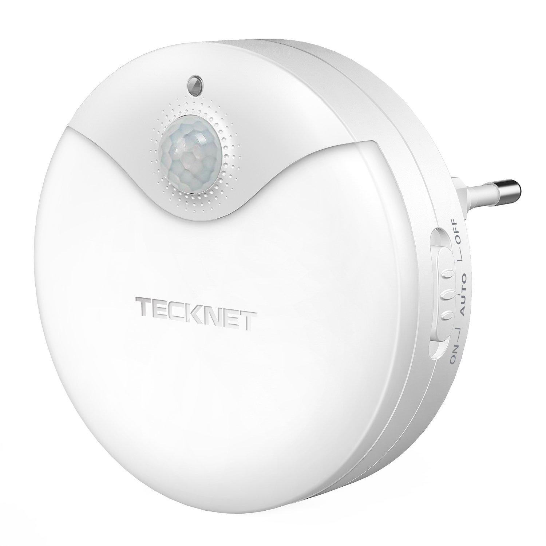 TeckNet Veilleuse LED [Lot de 3] Lumière d'escalier Nocturne Eclairage de Nuit avec Détecteur de Mouvement & Détecteur de Lumière, Alimenté par Batterie