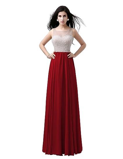 Sarahbridal Womens Long Sheer Neck Pearls Satin Chiffon Prom Evening Dresses SAJ029 Burgundy UK12