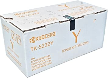 Kyocera 1T02R9AUSV Model TK-5232Y Yellow Toner Cartridge for M5521cdw, P5021cdw, Genuine Kyocera, Up To 2200 Pages