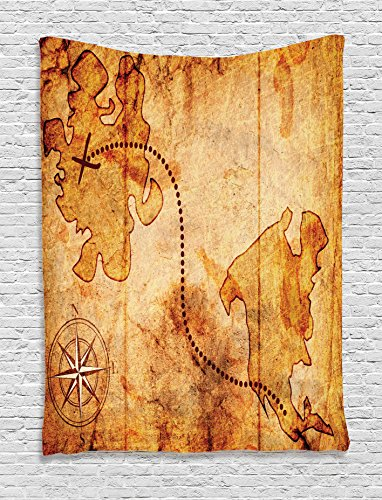 Treasure Hunt Wall (Compass Decor Tapestry by Ambesonne, Bohemian Style Treasure Hunt Map With Small Compass Paint On It Manuscript Atlas Finding Print, Bedroom Living Room Dorm Decor, 40 W x 60 L Inches, Tan)