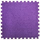 Purple Carpet Interlocking Foam Mats - Perfect for Floor Protection, Garage, Exercise, Yoga, Playroom. Eva foam (9 tiles)