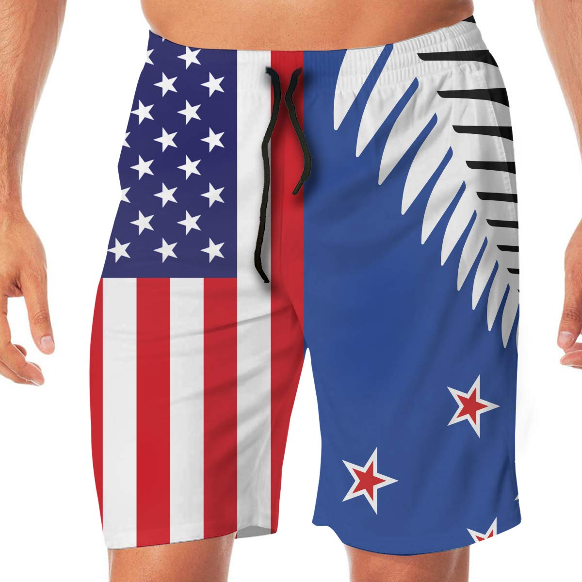 HZamora/_H Men Blue Space Summer Breathable Quick-Drying Swim Trunks Beach Shorts Cargo Shorts