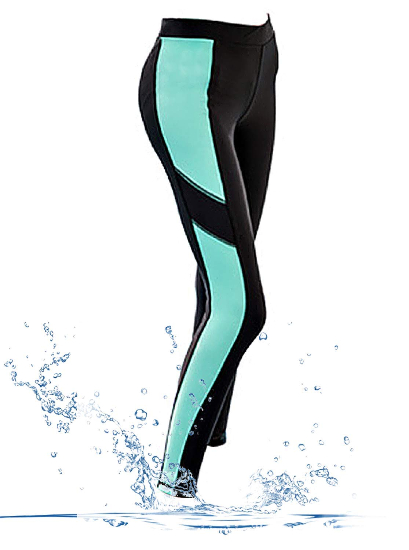 GEEK LIGHTING Womens UPF 50+ Surfing Skins Leggings Wetsuit Swim Long Pants (Black-Blue, X-Large)