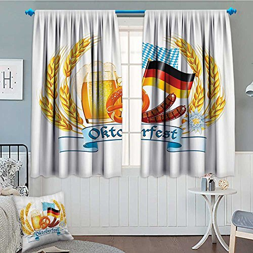 Festival Decorations Collection Home Decoration Thermal Insulated Oktoberfest celebration design with sausage drink flags Wheat Stems banner Blackout Draperies For Bedroom 72