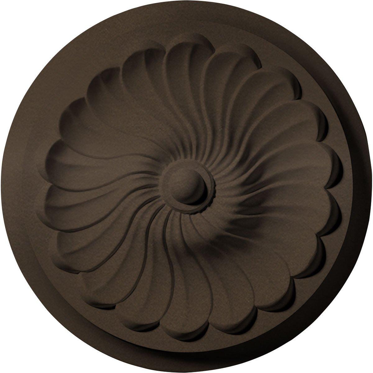 Ekena Millwork CM12FLBZS Ceiling Medallion 12 OD x 2 1/4'' P Flower Spiral (fits Canopies up to 2''), Bronze