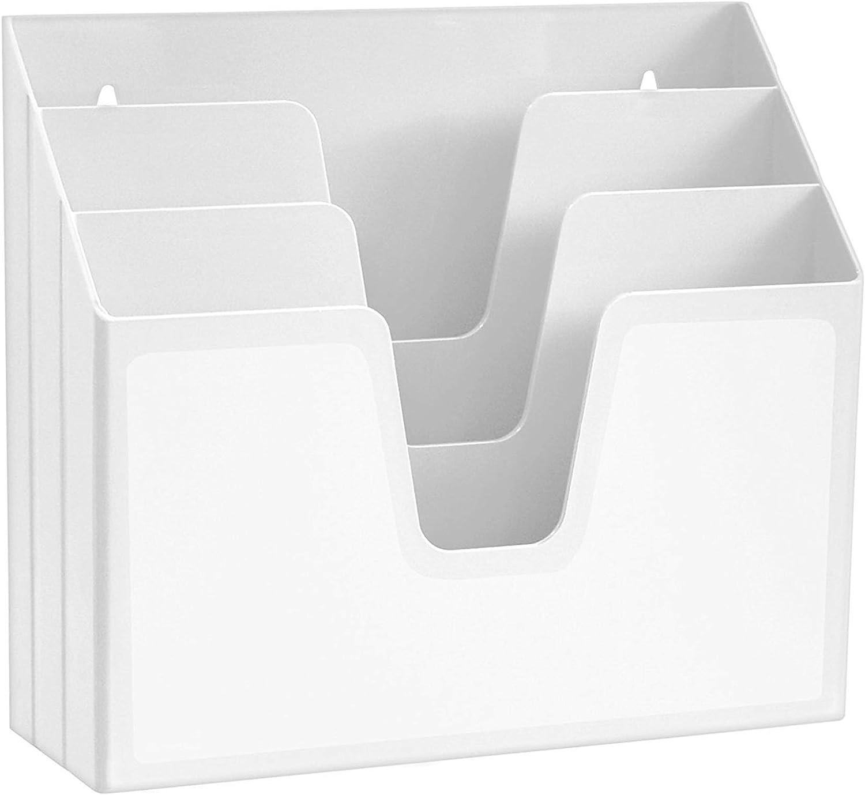 Acrimet Horizontal Triple File Folder Organizer (White Color): Home Improvement