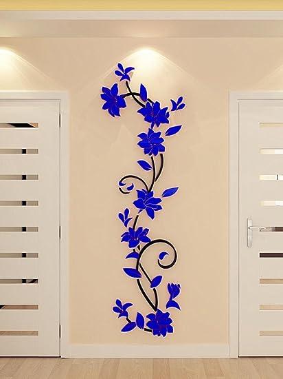Amazon.com: 3D Acrylic Crystal Flower Wall Stickers, Leyorie DIY ...
