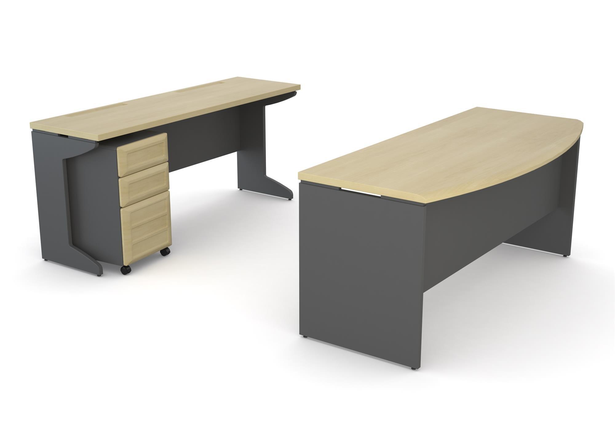 Altra Pursuit Office Set with Mobile File Cabinet Bundle, Natural/Gray
