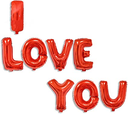 I LOVE YOU Balloon Banner with Warm White Copper Wire Lights in 8 Flashing Patterns Golden Letter Balloon Banner and Red Heart Balloon Decoration for Valentines Day Indoor and Outdoor Party Supplies