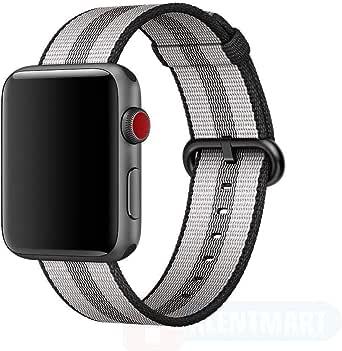 Sports Royal Woven Nylon Wrist Band Strap Bracelet For Apple Watch 38mm Black Stripe