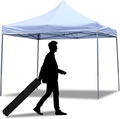 PUPZO Pop-Up Canopy Tent Gazebo 10×10 Portable Adjustable Carrying Bag Waterproof Party Camping Shelter Canopy White