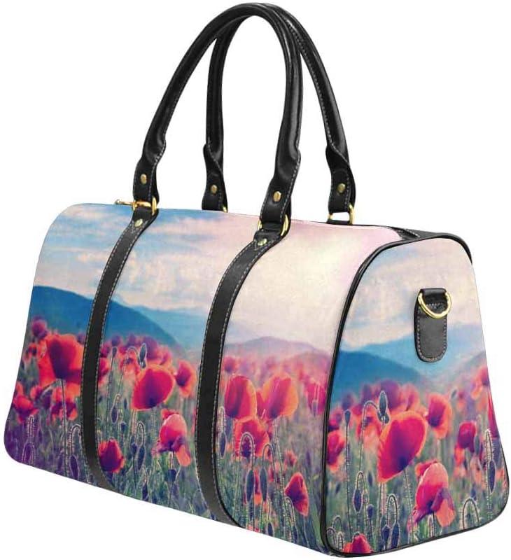 InterestPrint Unisex Duffel Bag Carry-on Bag Overnight Bag Weekender Bag Mountain Meadow with Poppy Flowers