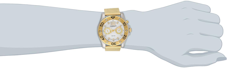 Akribos XXIV Women s AK553YG Diamond Gold-Tone Stainless Steel Mesh Bracelet Watch