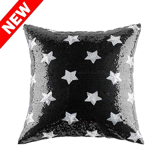 Kevin Textile Sequins Pillow Cover - Durable Solid Sequin Throw Cushion Cover Bling Square Star Pillowcase with Hidden Zipper for Home Decor, 18
