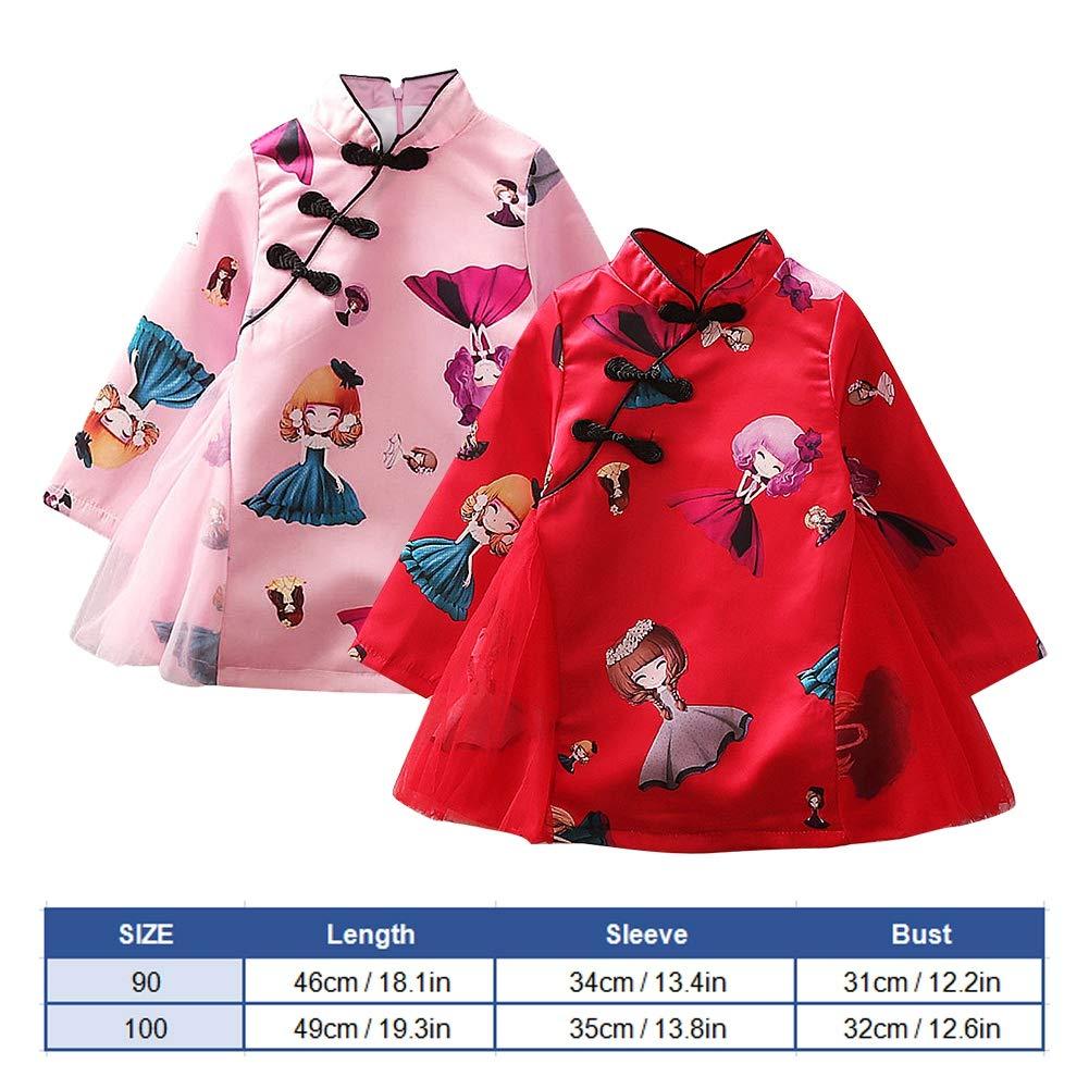100-Red Baby Girl Cheongsam Long Sleeve Chinese Dress Toddler Cheongsam Cloth Cheongsam Costume for Infant