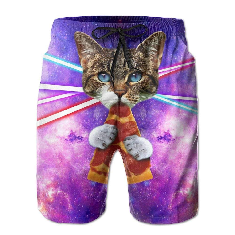 Cute Space Pizza Cat Mens Funny Summer Beach Board Shorts Breathable Surf Swim Trunks