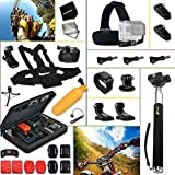 Complete ACCESSORIES KIT for GoPro HERO4 Session HERO4 Hero 4 - Hero3+ Hero 3+ - HERO3 Hero 3 - HERO2 Hero 2 - Hero 3 Black Silver Edition - Hero2 Outdoor Edition Hero 960 and ALL GoPro HERO Cameras