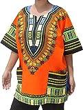 Raan Pah Muang RaanPahMuang Unisex African Dashiki Kaftan Shirt All Sizes XS - 7XL All Colours, XXXXXX-Large, Orange