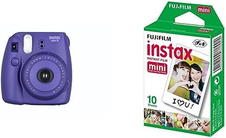 Fujifilm Instax Mini 8 - Cámara instantánea (flash, 1/60 sec) color violeta + 1 paquete de películas fotográficas instantáneas (10 hojas): Amazon.es: Electrónica