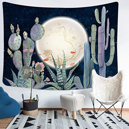 Cactus Tapestry Wall Hanging Moon and Cactus Plant Printed Tapestry Cactus Watercolor Tapestry for Bedroom Living Room Dorm Room