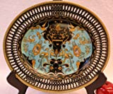 Golden Angels and Dragons Turquoise Porcelain Oval Plate 14''