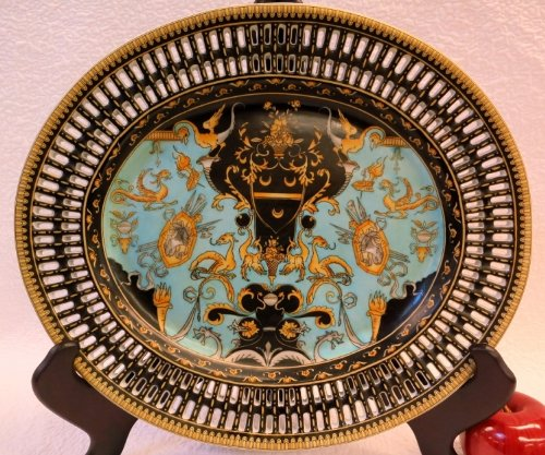 Golden Angels and Dragons Turquoise Porcelain Oval Plate 14'' by BlueWhiteVases