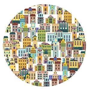 alfombrilla de ratón sin patrón, con edificios de dibujos animados - ronda - 20cm