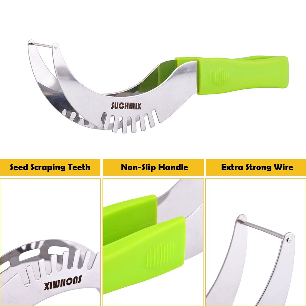 Premium Stainless Steel Watermelon Slicer and Tongs by SUCHMIX,New Extended Non Slip Handle Made to Slice and Serve with Ease - No Mess, Less Stress, Bonus Melon Baller Scoop and Gift Box. by SUCHMIX (Image #3)