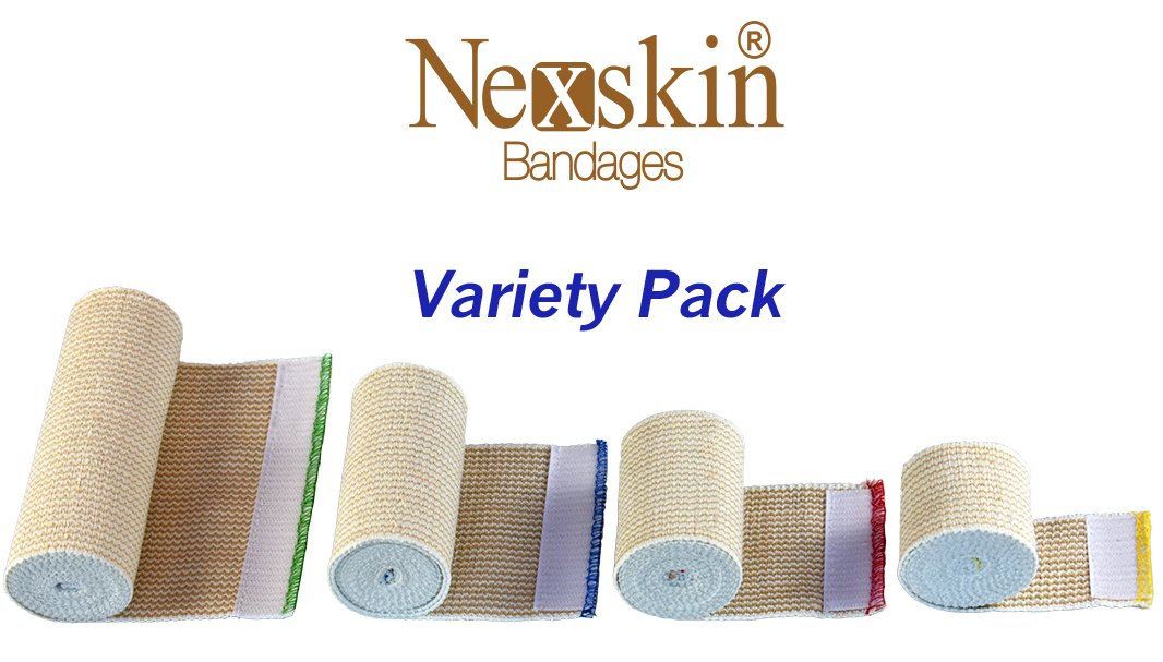 Nexskin Forever American Cotton Elastic Bandage Wrap with Hook and Loop Closure, 2'' Width (Variety Pack)