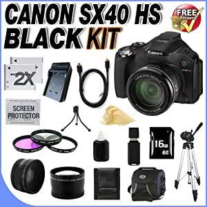 Canon SX40 HS 12.1MP Digital Camera with 35x Wide Angle Optical Image Stabilized Zoom and 2.7-inch Vari-Angle Wide LCD W/16GB SDHC Memory + 2 Extra Extended Life NB10L Batteries + Ac/Dc Rapid Charger + 3 Piece 67mm Filter Kit + Lens Adapter + Super Wide Angle Lens + 2x Telephoto Lens + Mini Hdmi Cable + USB Card Reader + Full Size Tripod + Memory Card wallet + Deluxe Case + Accessory Saver Bundle!