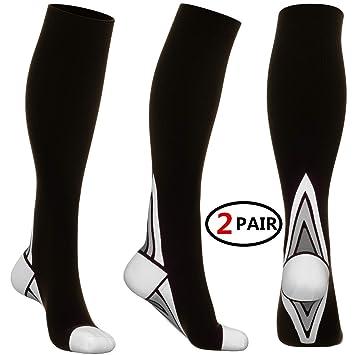 (2 Pares) Calcetines/Medias de Compresi¨®n para Hombres y Mujeres