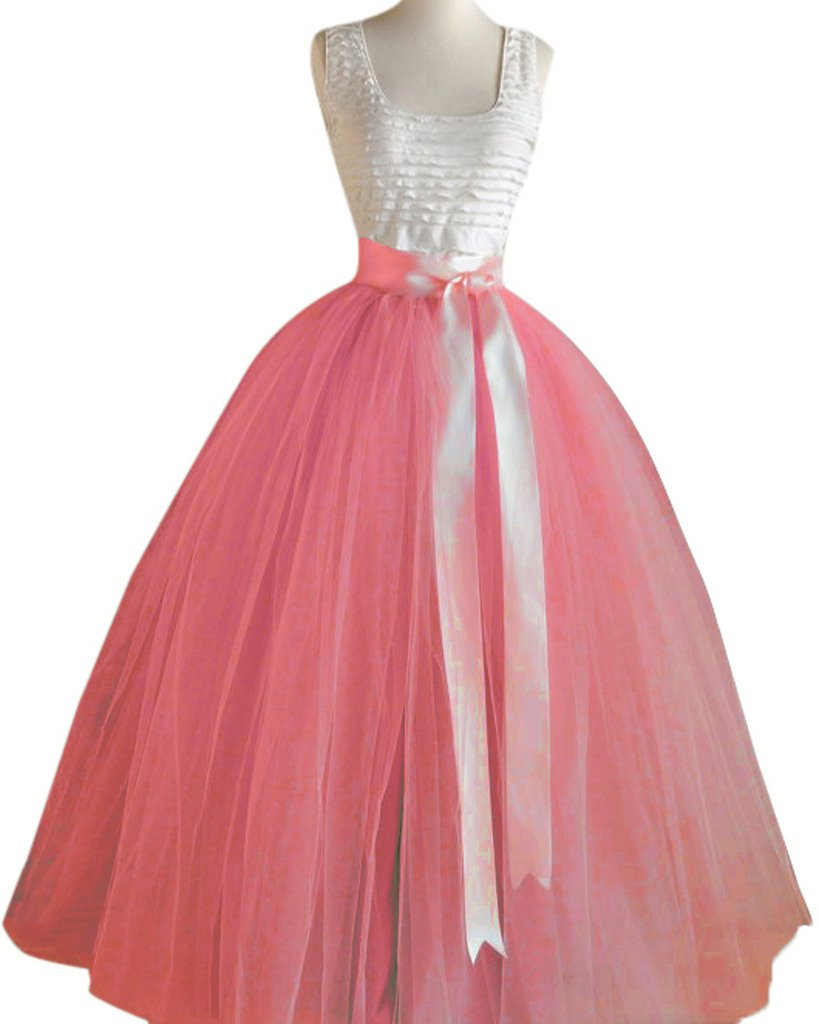 Dressyonly Women's Long Sheer Mesh Tulle Overlay Tutu Skirt Size 18W US Coral