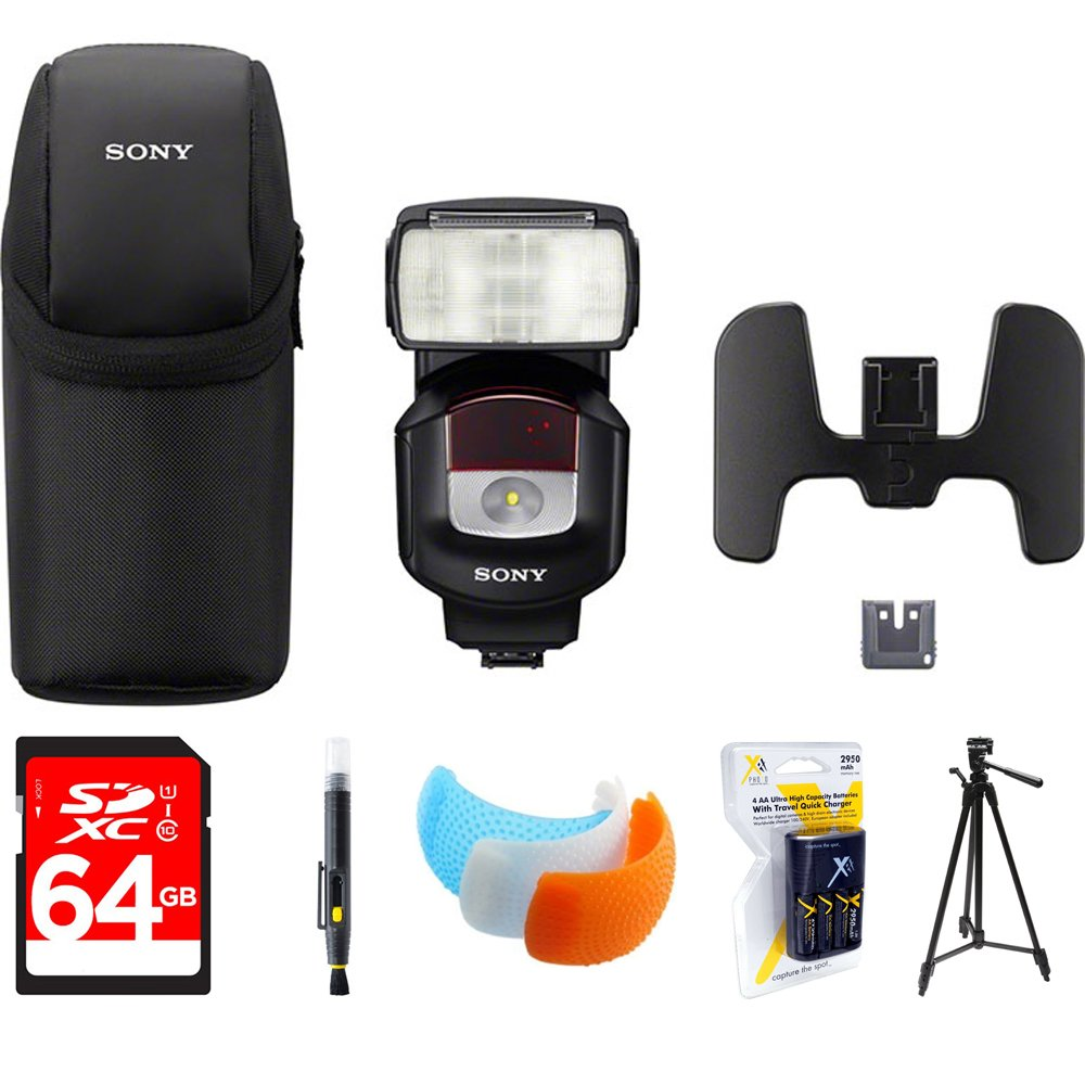 Sony High Power Flash with Quick Shift Bounce Black (HVL-F43M) with 64GB Memory Card, LCD/Lens Cleaning Pen, DSLR Camera Flash Diffuser Soft Flash Cover & AA Charger with 4 2950mah AA Batteries by Sony