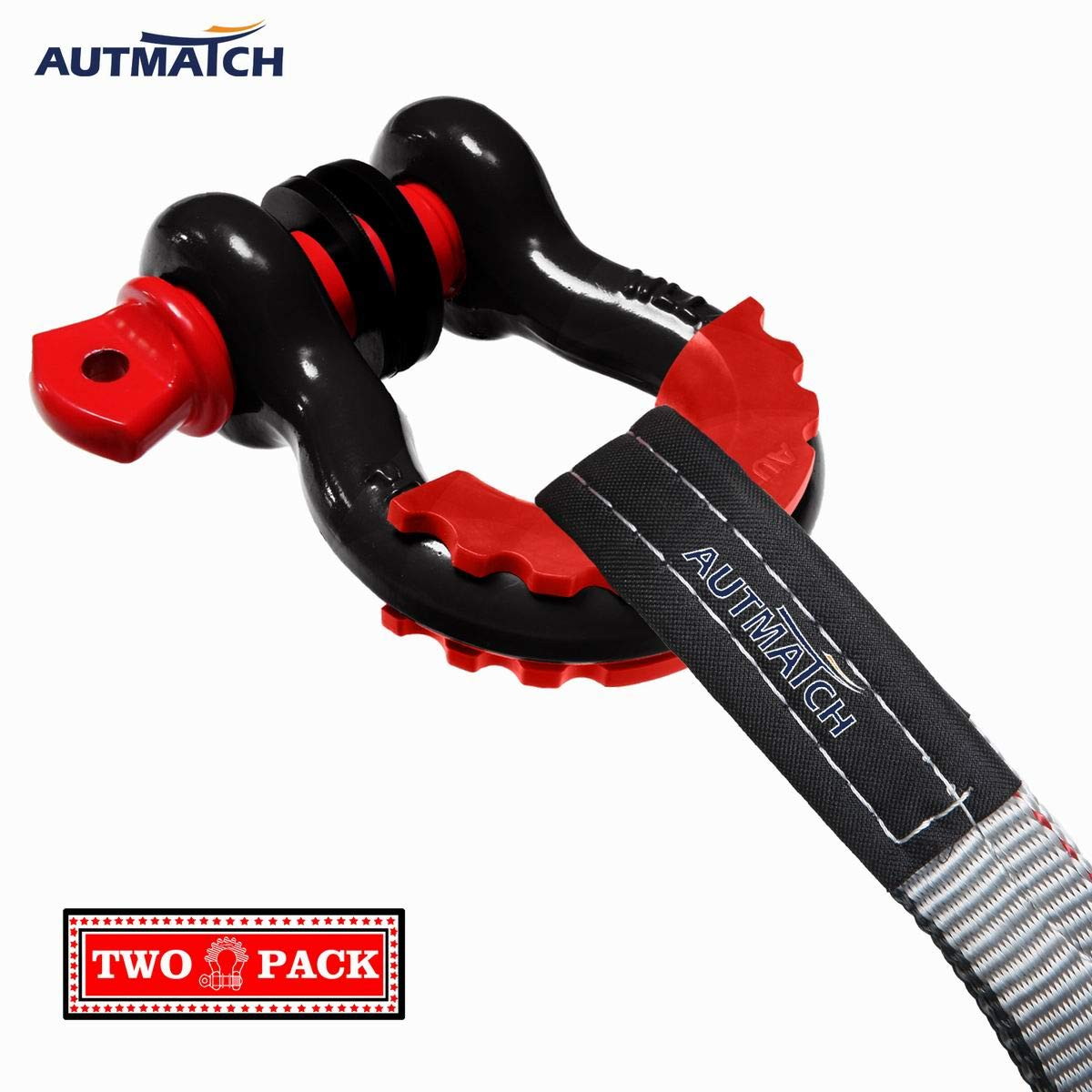 2 Pack 41,887Ib Break Strength with 7//8 Screw Pin and Shackle Isolator /& Washers Kit for Tow Strap Winch Off Road Towing Accessory Jeep Vehicle Recovery Red AUTMATCH Shackles 3//4 D Ring Shackle