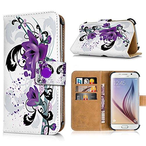 Switel S5002D Handytasche mit Standfunktion, Magnetverschluss & Kreditkartenfächern. Schutzhülle Tasche Case Brieftasche Handyhülle / LilaBlumen