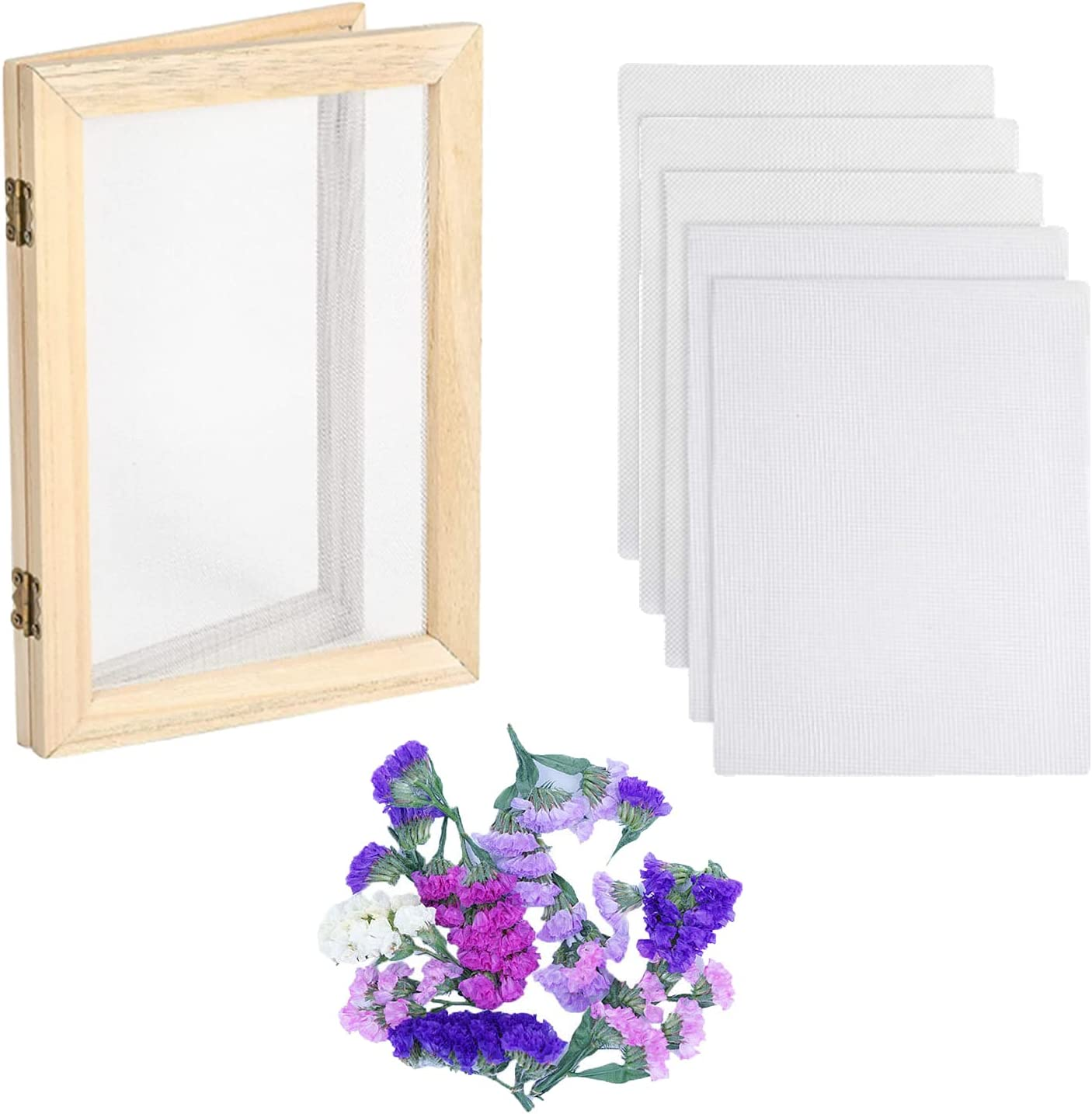 Paper Making Kit Mould and Deckle, Paper Making Recycled Paper Towel, Homemade Paper Making Kit 5 X 7 Inch Screen Printing Frame for DIY Paper Craft and Dried Flower Handcraft