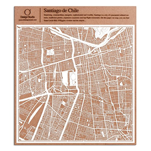 Wall Cosmopolitan Maps (Santiago de Chile Paper Cut Map by O3 Design Studio White 12x12 inches Paper Art)