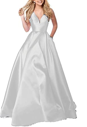 Amazon Ladsen Long Deep V Neck Prom Dress 2018 Ball Gown Stain