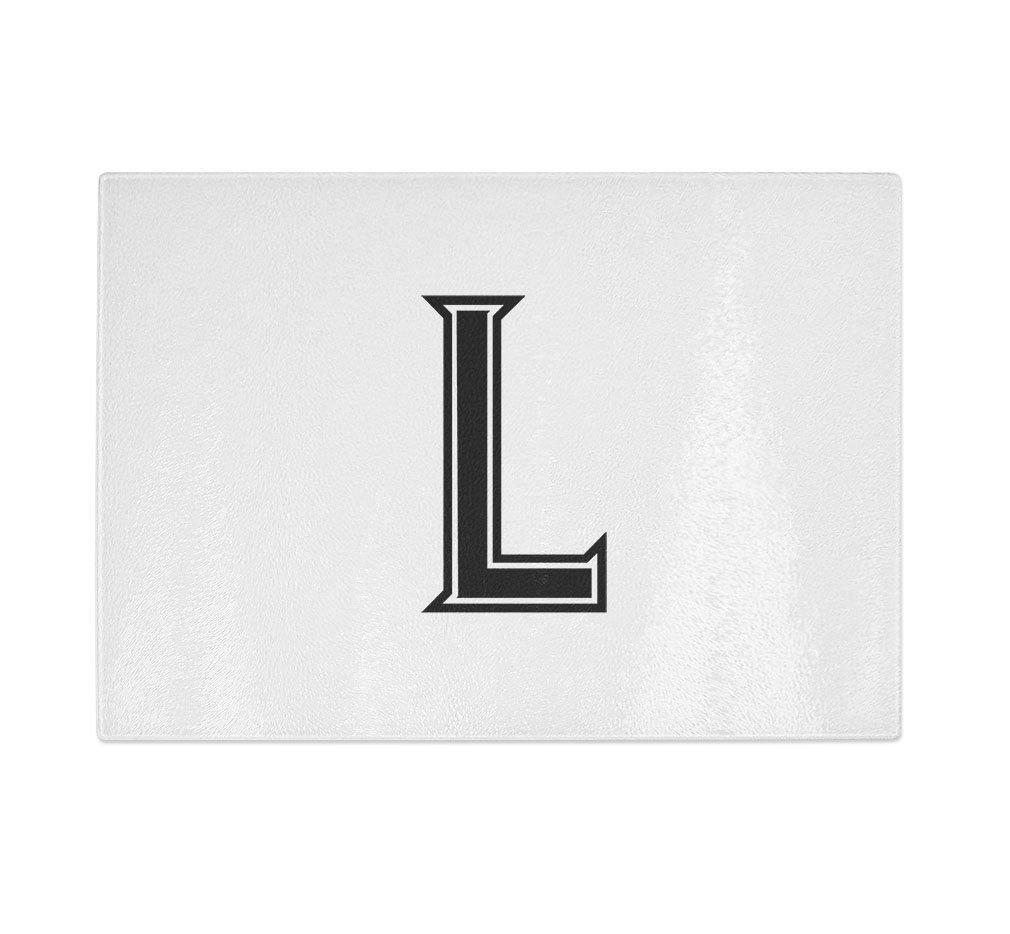 ''L '' College Font Initial Monogram Letter L Kitchen Bar Glass Cutting Board - 11 in x 16 in