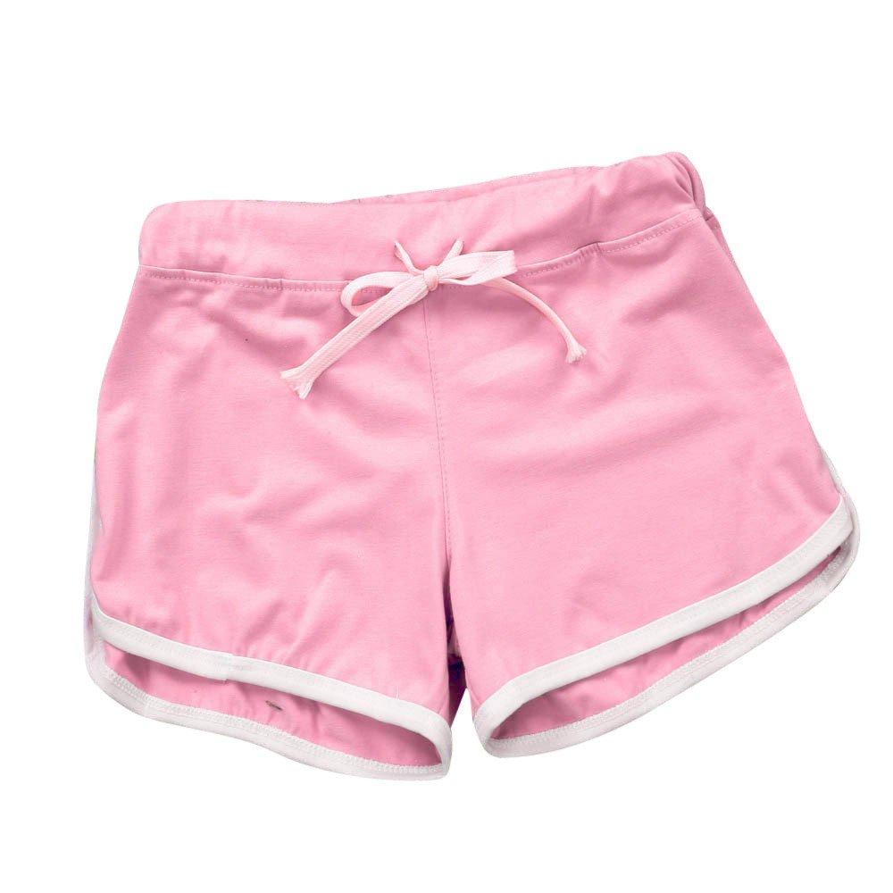 TRENDINAO Summer Short Pants Women, Sport Shorts Gym Workout Waistband Skinny Yoga Elastic Shorts Pink
