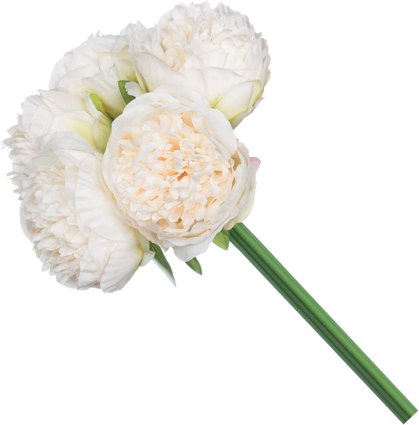 Royal Imports Artificial Peony Flowers, Silk Peonies, Use in Floral Arrangements, Bouquets, Wreaths, Crafts, Wedding, Home Decor - 5 Single Stems - Ivory