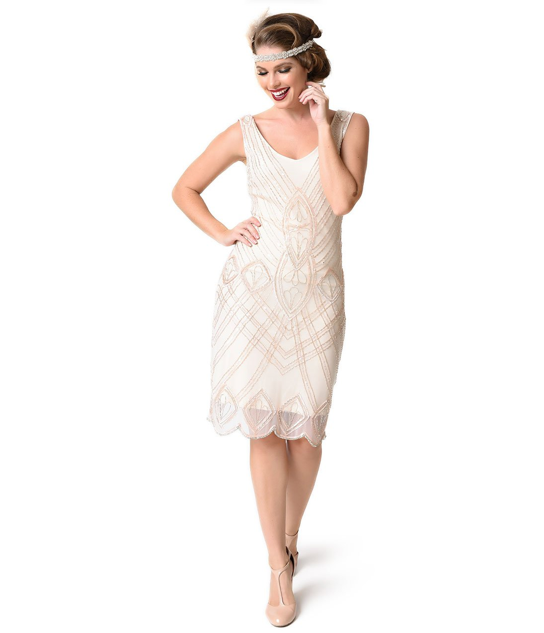 Unique Vintage 1920s Style Cream& Light Pink Beaded Viola Flapper Dress