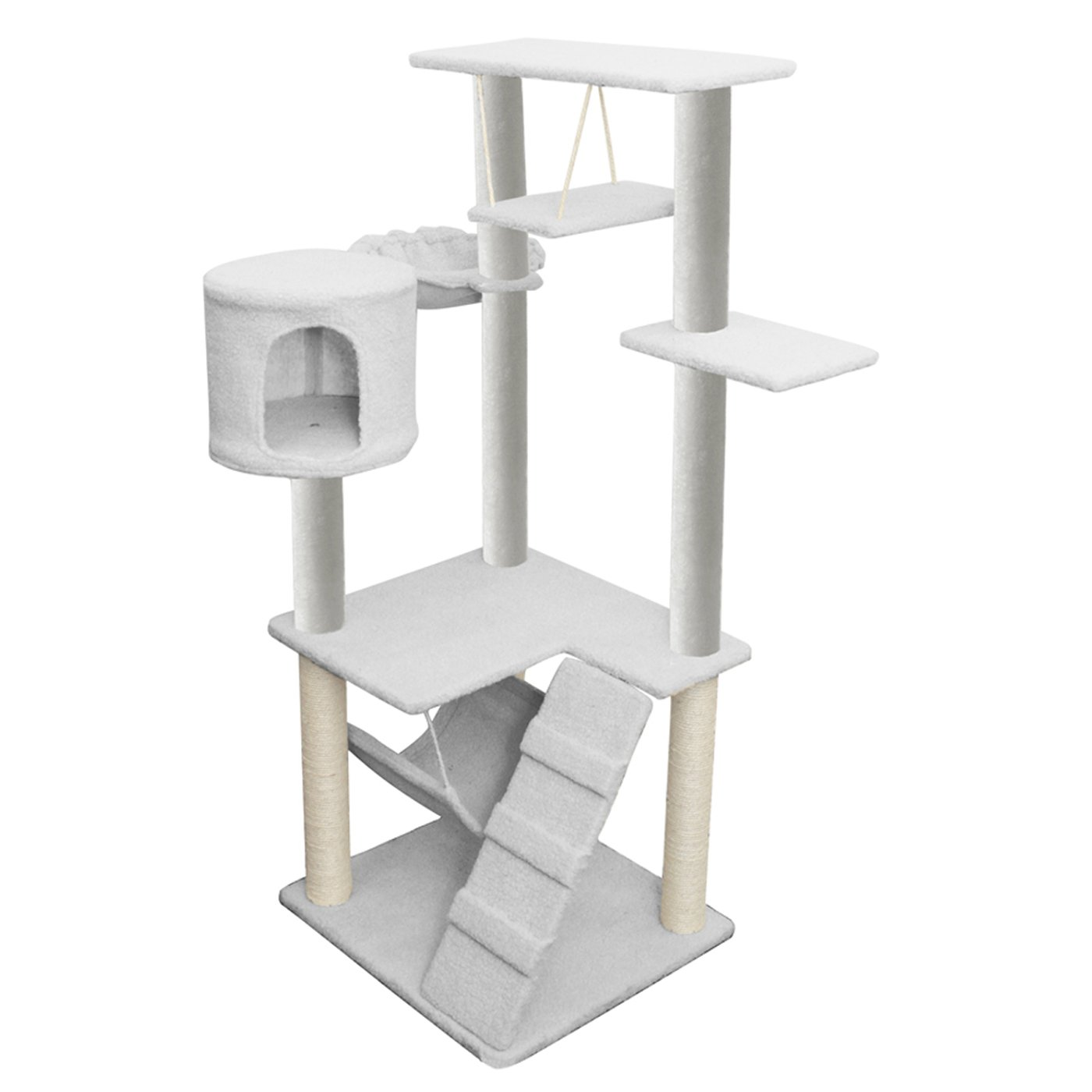 OxGord 20x20x54-Inch Condo Cat Tree Scratching Post And Toys White