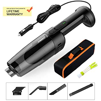 Carrying Bag Raniaco Car Vacuum Cleaner 12V 120W Car Hoover 5000PA Much Stronger Suction Potable Handheld Auto Vacuum Cleaner with 4.5M Power Cord Black Cleaning Brush