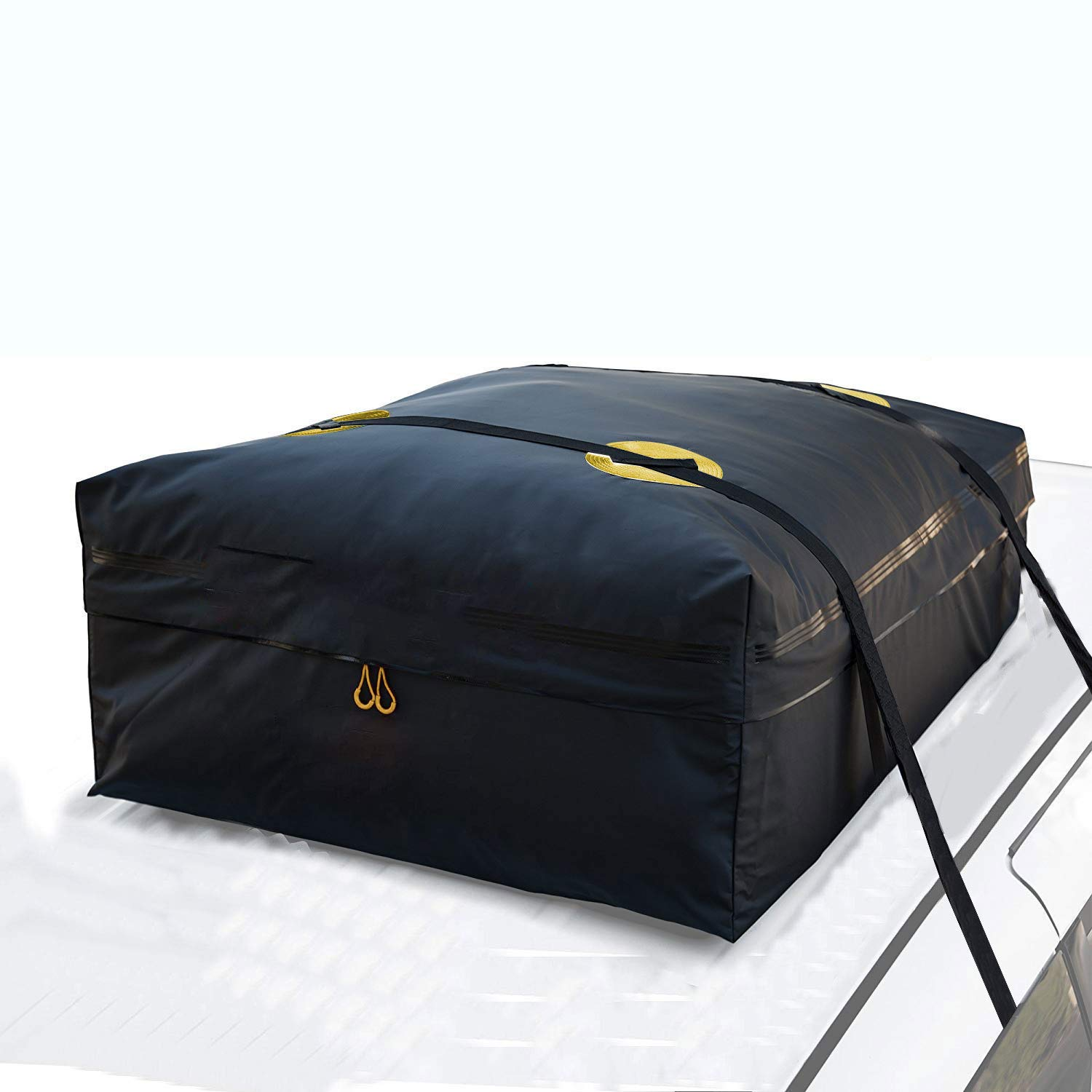 Heavy Duty Roof Top Luggage Storage Bag with 2 Reinfored Long Straps FeelGlad 5558995413 Perfect for Car with//Without Rack 15 Cubic Feet Rooftop Cargo Carrier Bag